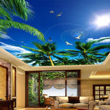 3D Blue Sky White Clouds and Coconut Trees Ceiling Wallpaper