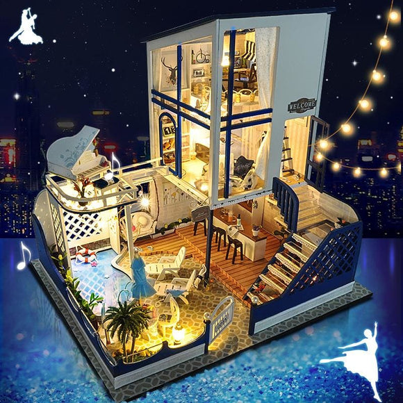 3D Castle In The Sky - Diy Miniature Townhouse - With Led & Furniture
