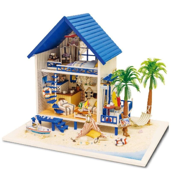 3D DIY Beach Cottage Miniature Wooden Doll House