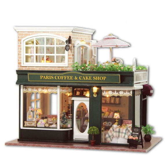 3D DIY France Sweet Coffee Shop Dollhouse Comes with LEDs & Furniture