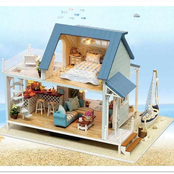 3D DIY Miniature Caribbean Doll House Comes with LEDs and Furniture