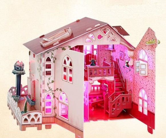 3D DIY Wooden Rural Villa Light House Puzzle