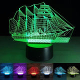 3D Led Ancient Sailing Ship 7 Color Lamp