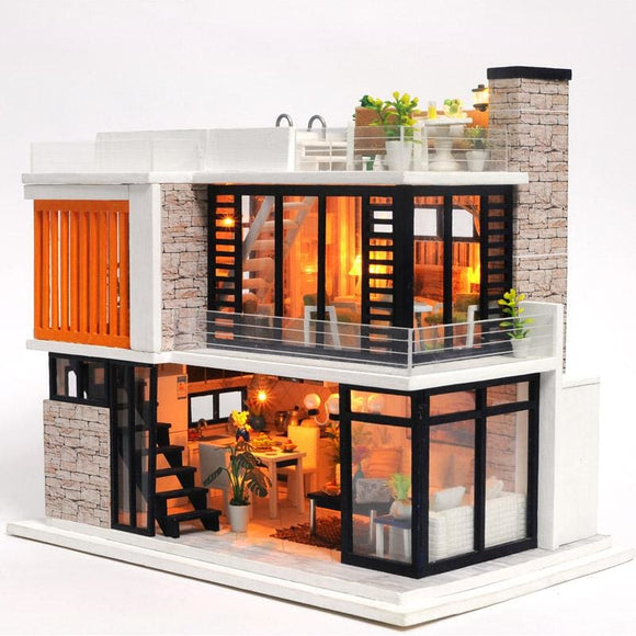 3D Modern Townhouse DIY Miniature - with LED and Furniture - China / With dust cover
