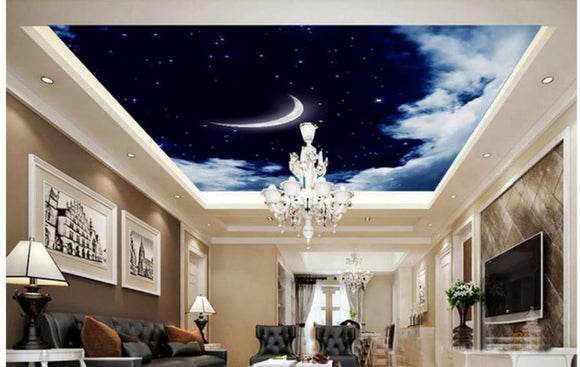 3D Moon and Stars Ceiling Wallpaper