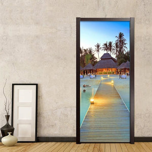 3D Mural Seaside Resort Wall (Door) Decals