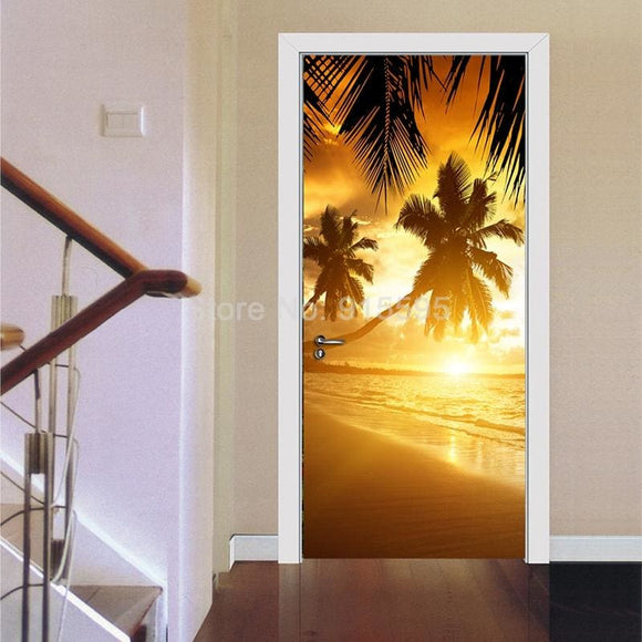 3D Palm Tree Sunrise Vinyl Wall (Door) Decal - Modern Market Online