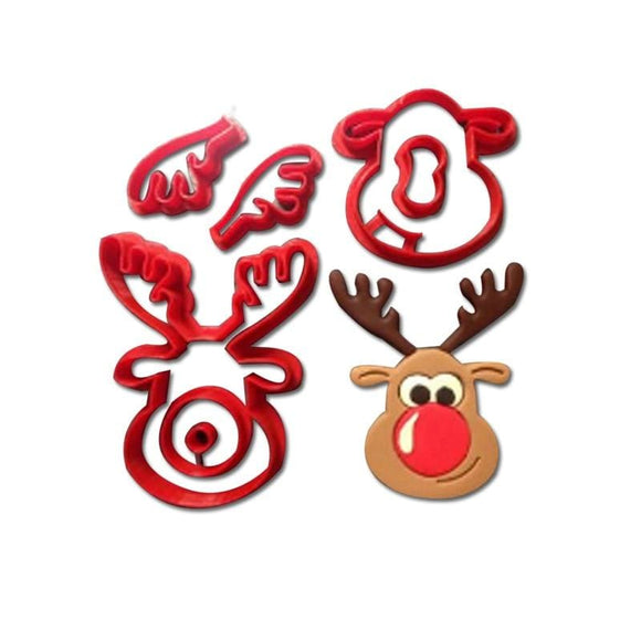 3D Rudolph The Reindeer Cookie Cutter Set