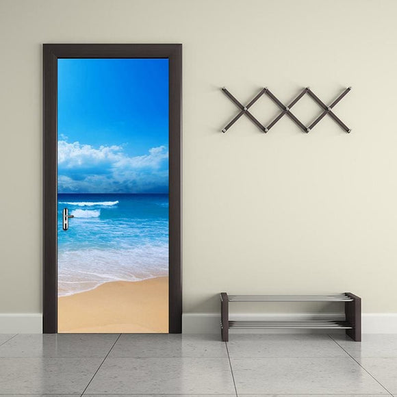 3D Sea Beach View Wall (Door) Decal