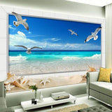 3D Seaside Mural Wallpaper