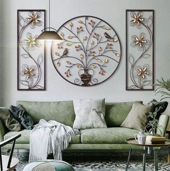 3D Style Flower and Bird Iron Wall Hanging Decor