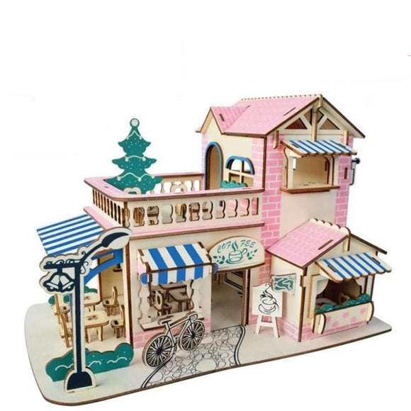 3D Wooden Diy Romantic Cafe Puzzle