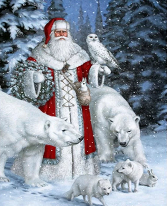 5D DIY Red Santa Claus and Polar Bears Diamond Mosaic Embroidery - 15x20cm