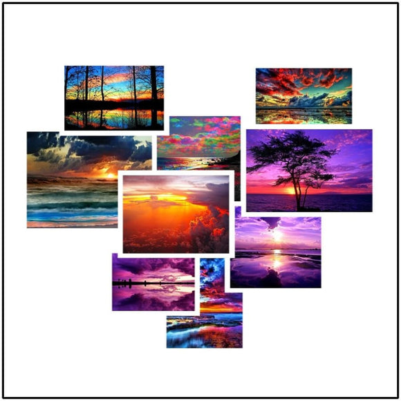5D DIY Seaside Sunset Landscape Mosaic Diamond Craft Kit