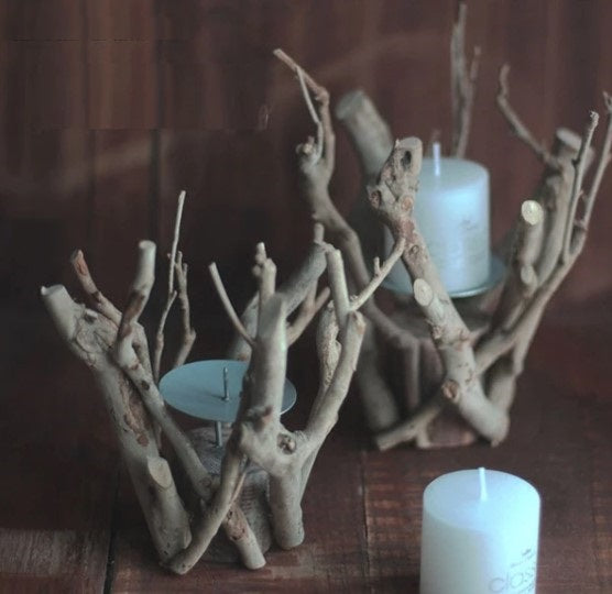 Unique Natural Branch Wood Candle Holder