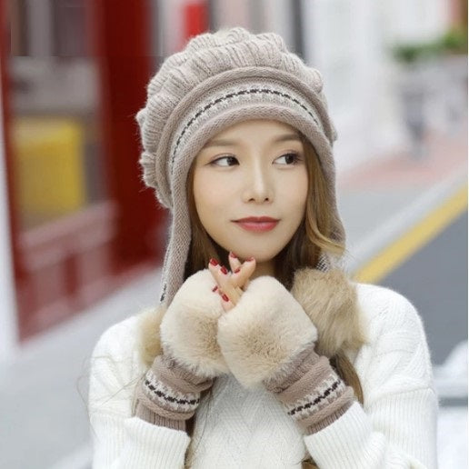 Women Knit Hat and Touch Screen Wool Glove Set