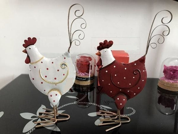 Adorable White and Red Color Double-Sided Decorative Chicken