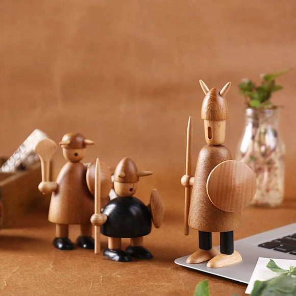 Angle Adjustable Wood Viking Figurines - Modern Market Online