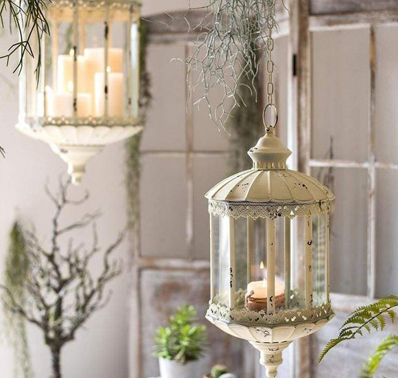 Antique Style Distressed Look French Metal Hanging Lantern