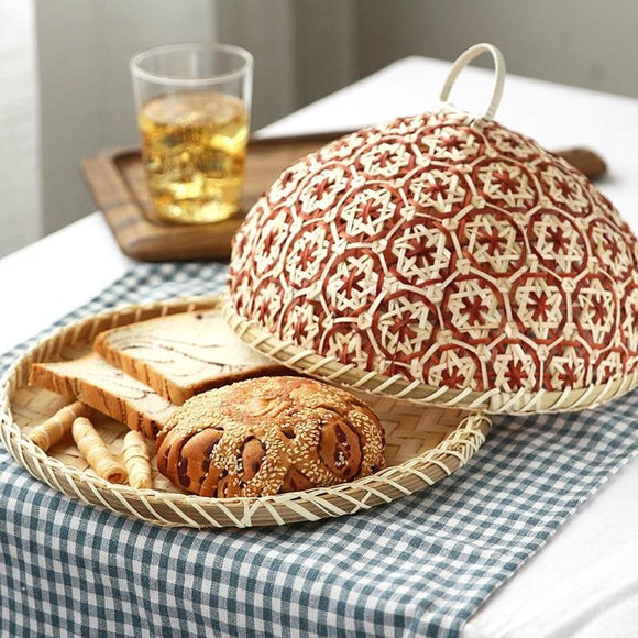 Bamboo Straw Round Basket Bread With Lid - 26X14L062Blue