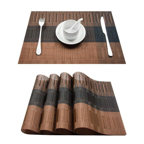 Bamboo Style Plastic Place Mat - 4 Piece Set