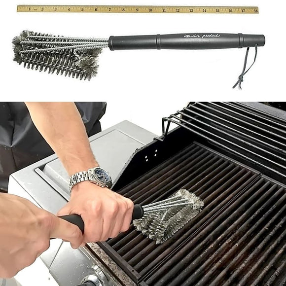 Barbecue Grill 3 in 1 Stainless Steel Grate Cleaning Brush
