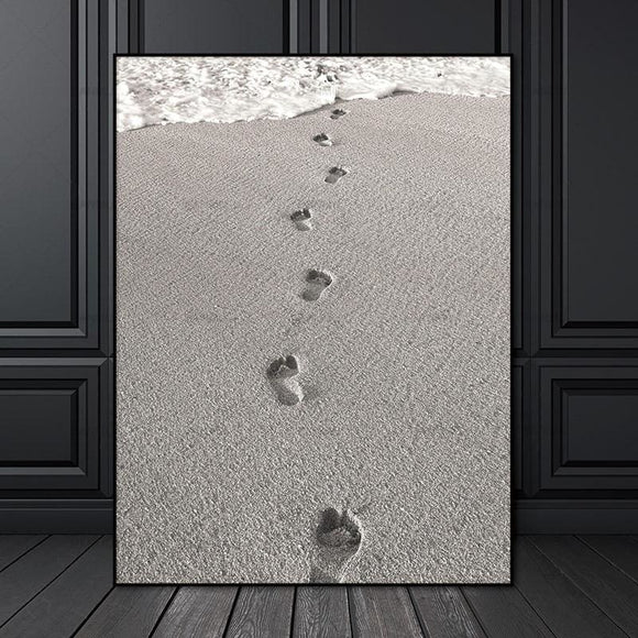 Beach Footprints Wall Canvas Print - 20X30cmX1PC no frame