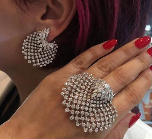 Big Crystal Rhinestone Earring and Ring Set - A