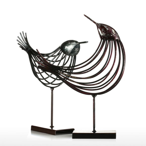 Black Abstract Metal Wire Bird Figurine - as picture