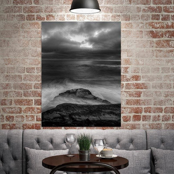 Black and White Crashing Wave Wall Canvas - 20X30cmX1PC no frame