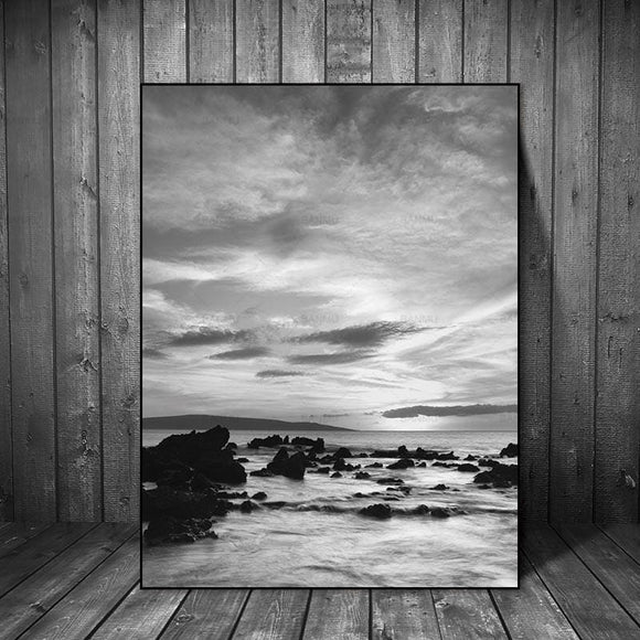 Black and White Sea and Stones Canvas - 20X30cmX1PC no frame
