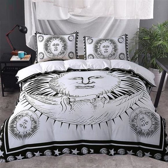 Black and White Sun Moon Bedding Set - US Twin / No sheet