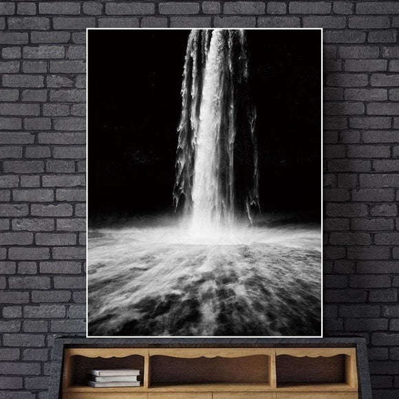 Black And White Waterfall Wall Canvas Print