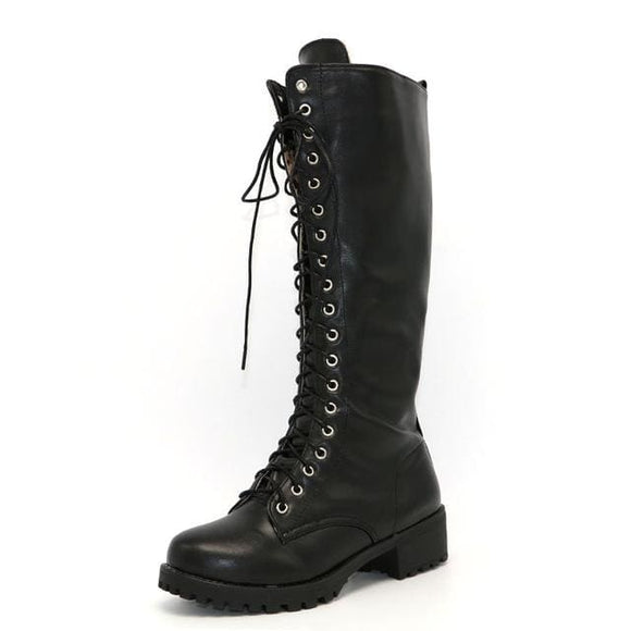 Black Low Heel Riding Boot - Black / 4