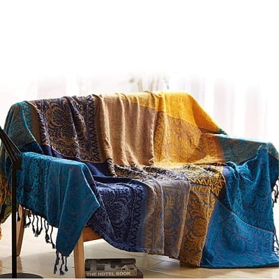 Blue And Yellow Chenille Blanket - 150X190Cm