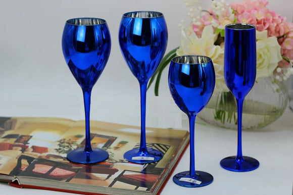 Blue Color Metal Plated Goblet