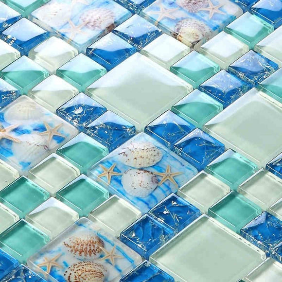 Blue Crystal Glass Shell Mosaic Tile
