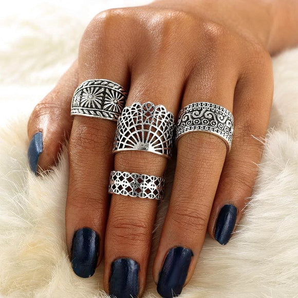 Boho Hollow Out Knuckle Ring x 4