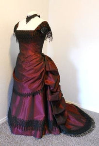 Burgundy 1860 Ball Gown