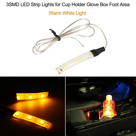Car Led Strip Lights For Cup Holder Glove Box Foot Area - Warm White
