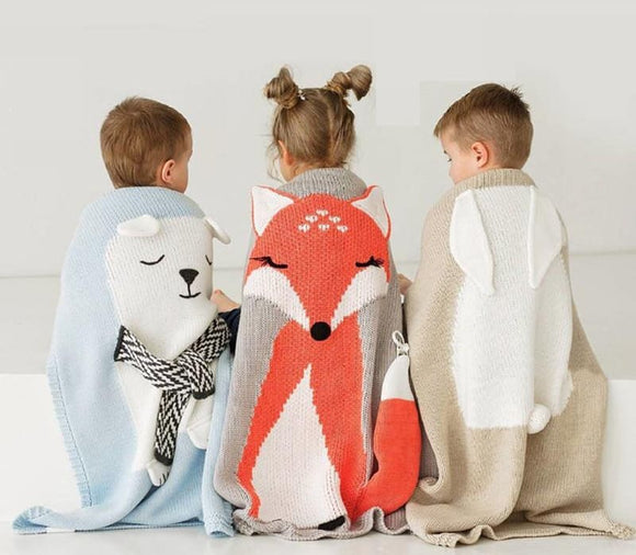 Cartoon Bear Fox Rabbit Baby Blanket Throw