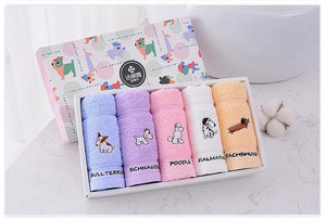 Cartoon Puppy and Fruit Hand Towel x 5
