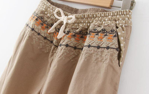 Casual Embroidery Drawstring Cotton Pant