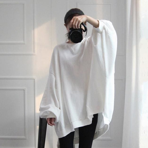 Casual Long Sleeve Loose Sweatshirt - White / S