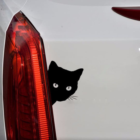 Cat Face Peeking Car Decal