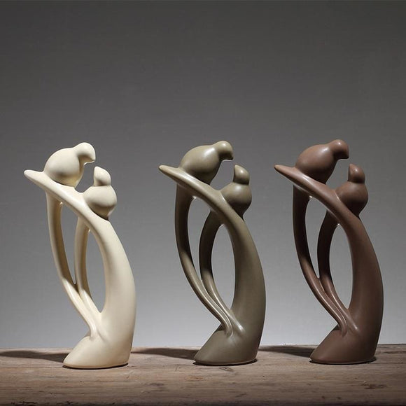 Ceramic Minimalist Bird Figurines - C