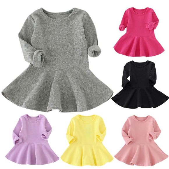 Children Long Sleeve Candy Color Dress