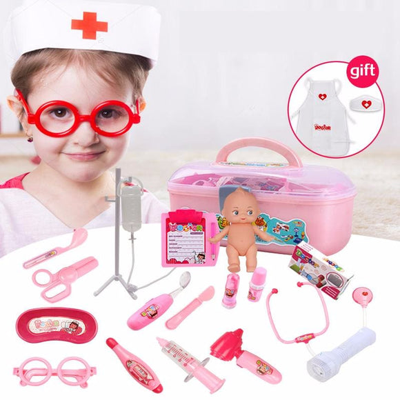Childrens Doctor Play Set - 17 Piece Set - Red