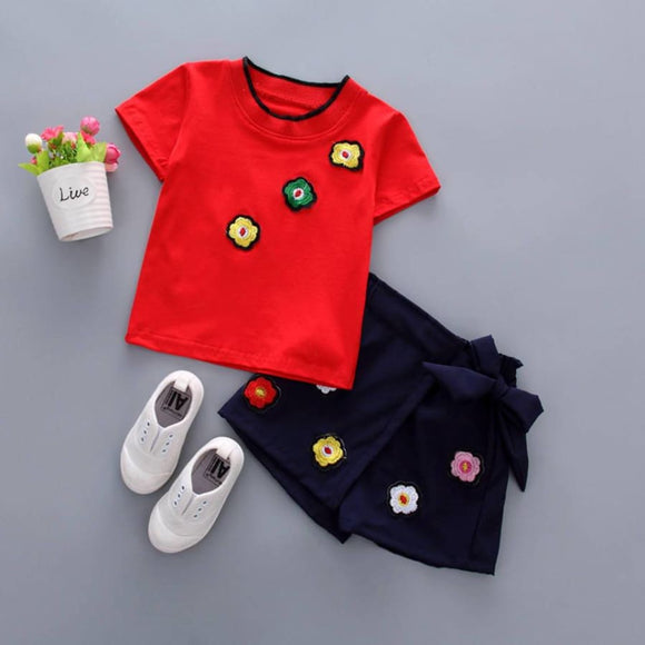 Childrens Summer T-Shirt and Shorts Outfit - Navy Blue / 12M