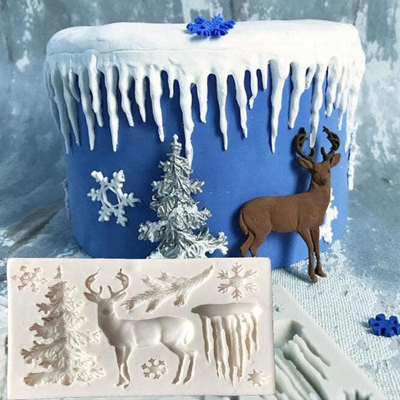 Christmas Elk Tree And Icicle Mold